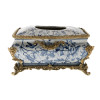 Lyvrich d'Elegance, Porcelain and Gilded Dior Ormolu | Blue and White Natural Simplicity | Bombé Tissue Box Centerpiece | 6.11t X 10.84L X 7.17d | 10224