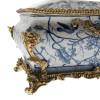 ***Lyvrich d'Elegance, Porcelain and Gilded Dior Ormolu | Blue and White Natural Simplicity | Bombé Tissue Box Centerpiece | 6.11t X 10.84L X 7.17d | 6337
