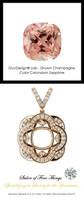4.70 Ct. Lab-Grown Corundum, Champagne Color Sapphire, Set with Precision Cut, G+, VS Mined Diamonds, GuyDesign®, Opulent 14 karat Rose Gold Pendant Necklace DG121689.91020000.86121.9