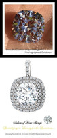 GuyDesign®, Opulent Platinum Pendant Necklace DG628683.91020000.86826, 3.20 Carat Cushion Cut Benzgem, Set with Precision Cut, G+, VS Mined Diamonds