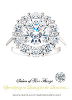 1.91 GuyDesign®, Opulent Platinum Diana Style Ring DG168175.91020000.71861, 1.90 Carat H&A Round Shape Benzgem, Set with 1.20 Carats of Hearts & Arrows, F+, VS Mined Diamonds. 6 shapes, 58 carat sizes available, 754 combinations