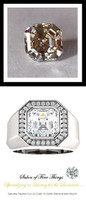 4.50 Carat G-H-I-J Color Range Diamond Solitaire Alternative with Precise Cut G+ Color and VS Clarity Mined Diamonds, 1.43 oz. Platinum Ring, GuyDesign® Men's Ideal Ring for Diamonds, 10292.9855.9