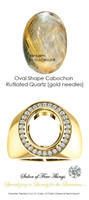 * Cabochon Oval Shape, Rutilated Quartz [Gold Needles] with Precise Cut G+ Color and VS Clarity Mined Diamonds, 14 Karat Yellow Gold Ring, GuyDesign® Men's Ideal Ring for Gemstones, 10294.9855.9