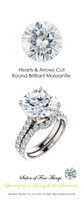 An Eternity Engagement Ring, 6 Carat Hearts & Arrows Moissanite Imitation Diamond, DEF Color with .97 cts. Precise Cut G+ Color and VS Clarity Mined Diamonds, Platinum Ring, GuyDesign® Bridal, 10297.639321.6