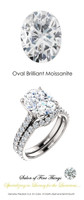 **** An Eternity Engagement Ring, 4 Carat Brilliant Oval Moissanite, DEF Color with .80 cts. Precise Cut G+ Color and VS Clarity Mined Diamonds, Platinum Ring, GuyDesign® Bridal, 10298.639321.6