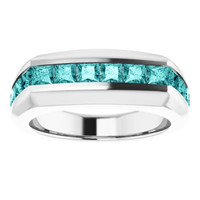 000010350 Platinum Teal Blue Square-Cut 2.3 Ct. Diamond Men's Band Ring