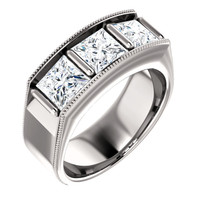 10353dg Interface, Men's 3 Stone 14k White Gold, Band Style ring by GuyDesign® 10353