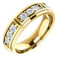 10354dg Interface, Men's 18 Stone 14k Yellow Gold, Band Style Eternity Station ring by GuyDesign® 10354
