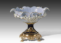 "***Lyvrich | Handmade Fine Porcelain Flowers, Pedestal Basin, Centerpiece Bowl, | Porcelain with Gilded Dior Ormolu Trim, | 10.25""t X 13.50""L X 12.25""d | 6571"