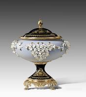 "***Lyvrich | Handmade Fine Porcelain Flowers, Jar, Centerpiece Urn, | Porcelain with Gilded Dior Ormolu Trim, | 15""t X 13""w X 12.25""d | 6568"
