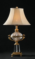 "***Lyvrich | Handmade Tabletop Lamp | Crystal with Gilded Dior Ormolu Trim, | 0.0""t X 0.0""L X 0.0""d 