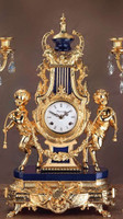 Blue Semi-Precious Gemstone, Lapis Lazuli shown with 24 Karat Gold Patina on Italian made Mantel, Table Clock #9, 6764