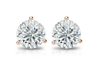 4 Carat TGW., Best Fake Diamond Benzgem by GuyDesign® Hearts & Arrows, Ideal Cut Round Shape Rose Gold Cocktail - Martini Earrings, Heavy 9.4mm Friction Back, 10370