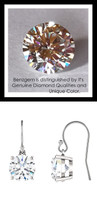 4 Carat TGW., Best Fake Diamond Benzgem by GuyDesign® Hearts & Arrows, Ideal Cut Round Shape White Gold Dangle Earrings, French Ear Wire, 10371