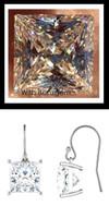 7.64 Carat TGW., Best Fake Diamond Benzgem by GuyDesign® Princess Cut White Gold Dangle Earrings, French Ear Wire, 10373