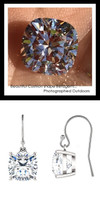 6.42 Carat TGW., Best Fake Diamond Benzgem by GuyDesign® Cushion Cut White Gold Dangle Earrings, French Ear Wire, 10378
