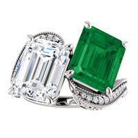 6.95 Ct. Mined Diamond Semi-Mount Two Stone GuyDesign® Jackie Kennedy Wedding Ring, Chatham Lab-Created Beryl Emerald, and Benzgem Emerald Cut G-H-I-J Color Best Fake Diamond 10381
