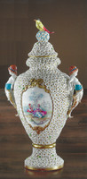 """Tiche Bisque Porcelain, Hand Painted, Petite Flowers, Trophy Cup Covered Vase - 49cm Tall x 27cm Wide, 19.29""""t x 10.62""""w -10382"""