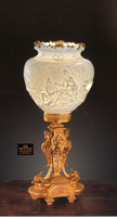 """Tiche Bisque Porcelain and Gilt Bronze Ormolu, Tabletop objet d'art Lamp - 60cm Tall x 30cm Wide, 23.50""""t x 11.75""""w - 10384 Priced in 24K Gold Finish"""