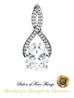 2.66 Ct. Oval Benzgem: Best G-H-I-J Diamond Quality Imitation; GuyDesign® Breast Cancer Survivor's Pendant Necklace: Lab-Grown Pavé Diamonds Custom Gold Jewelry, 10394
