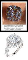 360° Video - 3.21 Carat Believable and Realistic Simulated Diamond Cushion Cut Benzgem matches Convincingly the Natural Diamond Semi-Mount; GuyDesign Halo Engagement or Right-Hand Ring - 14k White Gold, 10397
