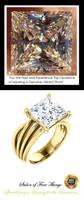 360° Video - 3.81 Ct. Princess Benzgem: Best G-H-I-J Diamond Quality Cut & Color Imitation; GuyDesign® Statement   Engagement Ring:  Custom Gold Jewelry, 10398