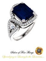 360° Video - 6.50 Ct Emerald Cut Chatham Lab-Grown Blue Sapphire: GuyDesign® Halo & Gemstone Engagement Ring: Mined Pavé Diamonds Custom Platinum Jewelry, 10399
