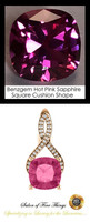 4 Ct. Lab-Grown Benzgem Brand Best Pink Sapphire: GuyDesign® Breast Cancer Survivors Pendant Necklace: Lab-Grown Pavé Diamonds Custom Gold Jewelry, 10401