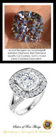 3.21 Carat Believable and Realistic Simulated Diamond Cushion Cut Benzgem matches Convincingly the Natural Diamond Semi-Mount; GuyDesign Halo Engagement or Right-Hand Ring - 14k White Gold, 10413,