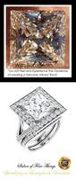 3.81 Ct. Princess Benzgem: Best G-H-I-J Diamond Quality Imitation: GuyDesign® Continental Halo Engagement Ring: Natural Pavé Diamonds Custom Gold Jewelry, 10414