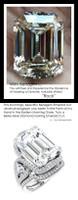 3 Stone Engagement Ring, Halo Engagement Rings, Diamond Semi-Mount, Emerald Cut, Platinum, Simulated Diamond, Natural Diamond, Wedding Sets, 10424