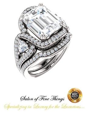 360° Video - 6.50 Ct Emerald Cut Chatham Lab-Grown Blue Sapphire: GuyDesign® Halo & Gemstone Engagement Ring: Natural Pavé Diamonds Custom Platinum Jewelry, 10425