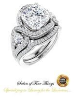 360° Video - 3.21 Ct. Cushion Cut Benzgem: Best G-H-I-J Diamond Quality Imitation: GuyDesign® Halo Engagement Ring: Natural Pavé & Trillion Diamonds Custom Platinum Jewelry, 10427