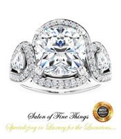 3 Stone Engagement Ring, Halo Engagement Rings, Diamond Semi-Mount, Cushion Cut, Platinum, Simulated Diamond, Natural Diamond, Wedding Sets, 10427
