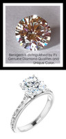 1.91 Benzgem by GuyDesign®, 1.91 Carat Hearts & Arrows Round Cut Jewelry Sample, Size 7, Tarnish Resistant Silver 10442-123063