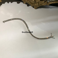 "00035 18k White Gold Diamond Bracelet 6.38"" or 16.2 cm. Bespoke Length"