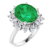 00002-A Platinum Diamond Emerald Engagement Ring