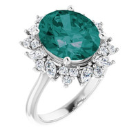 00003-C Platinum Diamond Alexandrite Cocktail Ring