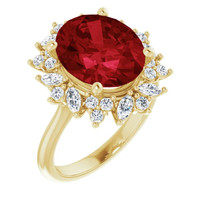 00004-C 18K Yellow Gold Diamond Ruby Cocktail Ring