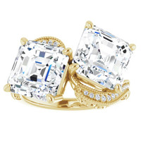 00564, 18K Yellow Gold 32 Diamond Two-Stone Asscher Benzgem Ring