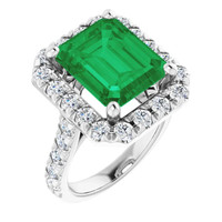0000356, Plat Hearts & Arrows 28 Diamonds Emerald Bespoke Ring