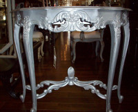 Custom Decorator - French Louis XV 39 Inch Console Entry Table - Silver Metallic Finish