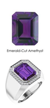 0000814 Platinum Hearts & Arrows 34 Diamond Amethyst Mens Custom Ring