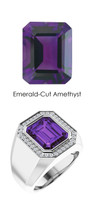 0000814 Platinum Hearts & Arrows 34 Diamond Amethyst Mens Custom Ring