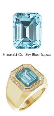 0000835 18K Gold Hearts & Arrows Diamonds 7.8 ct. Topaz Men's Custom Ring