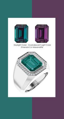 0000844 Platinum Hearts & Arrows Diamonds 7.3 ct. Alexandrite Mens Ring