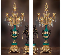 "000024101 26.3"" Malachite Candelabra Set of 2 - Bespoke"