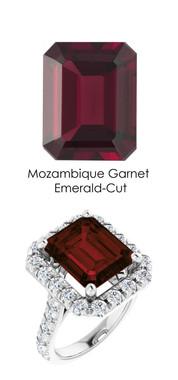 0000351 Platinum Hearts & Arrows 28 Diamonds 7 ct. Garnet Bespoke Ring