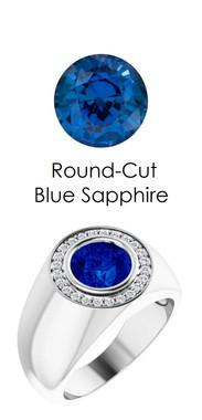 0000802 Platinum H&A 24 Diamonds Round Blue Sapphire Bespoke Men's Ring
