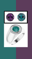 0000803 Platinum H&A 24 Diamonds Round Alexandrite Bespoke Men's Ring